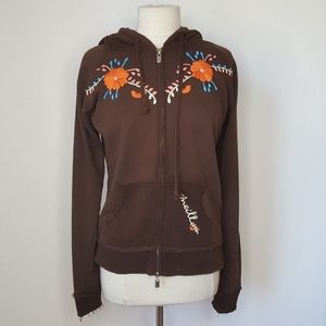 O'Niell Brown Embroidered Hoodie